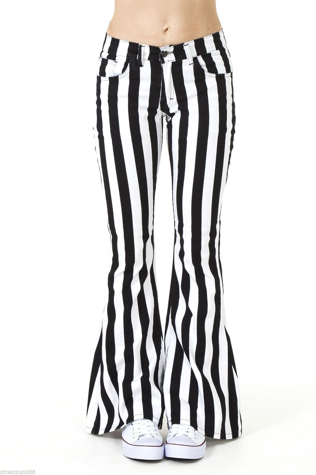 Womens 60s 70s Black And White Striped Bell Bottoms Flares